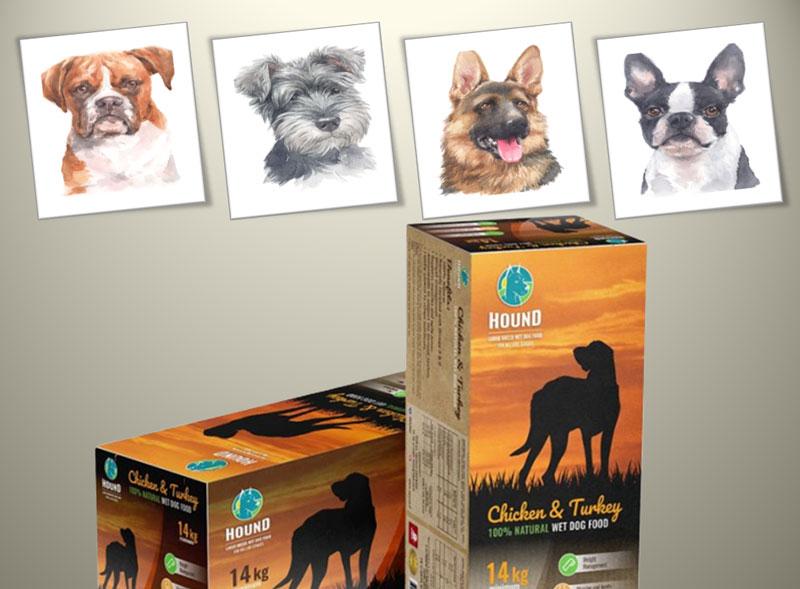 שתי אריזות קרטון מעוצבות אחת ליד השנייה ומעליהן תמונות של כלבים